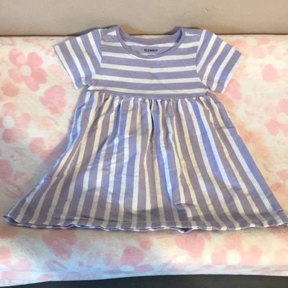 Old Navy Purple & White Striped Dress
